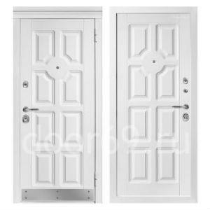 Лакированные белые двери с цветком в Тверской области фотография
